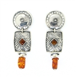 Tabra Silver Emboss and Amber Post Earrings