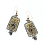 Tabra Bronze, Silver & Garnet Ethnic Emboss Earrings