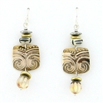Tabra Bronze Emboss & Bone Bead Earrings