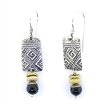 Tabra Black Onyx & Bone Earrings on Wires