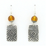Tabra Amber Greek Key Emboss Earrings on Wire