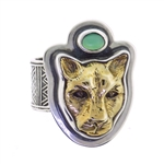 Tabra Bronze Jaguar Ring with Jade