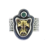Tabra Bronze Jaguar Pinky Ring with Indian Emerald