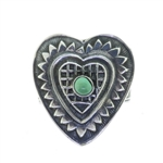 Tabra Silver Heart Emboss Ring  with Turquoise
