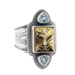 Tabra Bronze Cat & Blue Topaz Ring