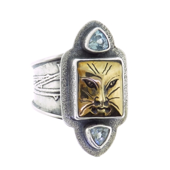 Tabra Bronze Cat & Blue Topaz Cuff Ring