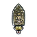 Tabra Bronze Buddha Citrine and Garnet Ring