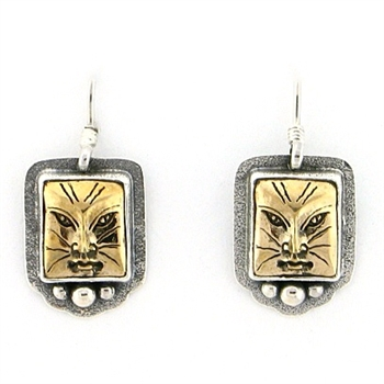 Tabra Bronze Cat Face Earrings  in Sterling Silver