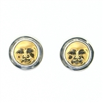 TD377 Bronze Moonfaces Sterling Silver Post Earrings