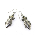 Tabra Embossed Fish Earrings on Wires