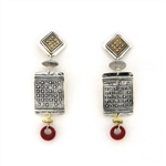 Tabra Bronze and Silver Ethnic Embossed Earrings TE410