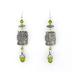 Tabra Sterling Silver Vine Emboss Earrings with Green Crystals