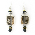 Tabra Bronze & Silver Black Onyx Wire Earrings TE421