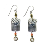Tabra Ethnic Emboss Heart Earrings with Coral