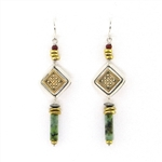 Tabra Bronze & Silver Jade Earrings on Wires TE430