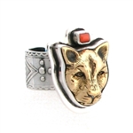 Tabra Bronze Jaguar with Coral Ring