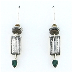 Tabra Green Quartz Silver Ethnic Emboss Earrings