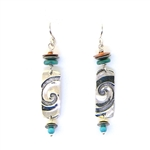 Tabra Embossed Swirl Turquoise & Copper Earrings