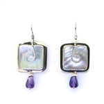 Tabra Amethyst & Mother-of-Pearl Earrings on Wires