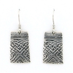 Tabra Embossed Silver Rectangle Earrings