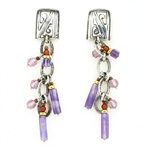 Tabra Amethyst & Garnet Silver Earrings on Posts