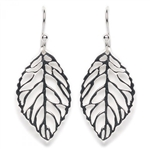 Tomas Large Cut Out Leaf Silver Hook Earrings