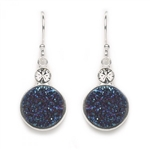 Tomas Druzy Hook Earrings - Navy Blue