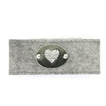 "KBD 1 1/4"" Cuff Light Grey - Pave Crystal Heart"