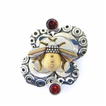 Zealandia Designs Bee Pendant with Garnets