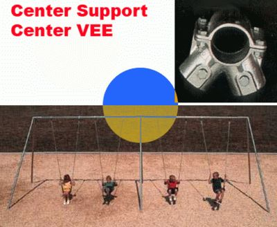 Pipe Swing set Connector - Straight Center Vee