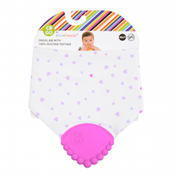 Cotton Drool Bib with waterproof lining and 100% Silicone Teether. No bpa, phthalates, or lead. Stylish and Functional.