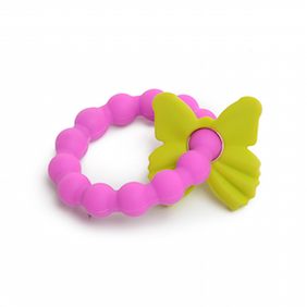Butterfly CB GO By Chewbeads Cotton Lovey with 100/% Silicone Teether /& Pacifier Loop