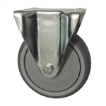 Metric Rigid Caster with Top Plate and Rubber Wheel