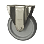 Blickle Stainless Steel Metric Rigid Caster with Top Plate and Rubber Wheel