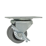 dual wheel low profile caster with brake