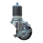 "3.5"" Expanding Stem Brake Swivel Caster with Polyurethane Tread"