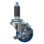 "3.5"" Expanding Stem Swivel Brake Caster with Blue Polyurethane Tread"