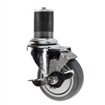 "4"" Expanding Stem Swivel Caster with Gray Polyurethane Tread and top lock brake"
