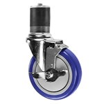 "5"" Expanding Stem Swivel Caster with Blue Polyurethane Tread and top lock brake"