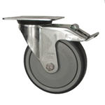 Metric Swivel Caster with Top Plate, Rubber Wheel and Brake