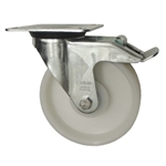 Metric Swivel Caster with Top Plate, Nylon Wheel and Brake