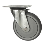 Metric Swivel Caster with Top Plate and Rubber Wheel