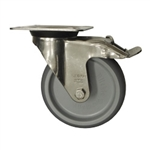 Stainless Steel Metric Swivel Caster with Top Plate, Rubber Wheel and Brake