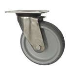 Stainless Steel Metric Swivel Caster with Top Plate and Rubber Wheel