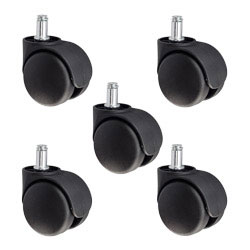 43b546cad0b Office Chair Casters - Nylon Replacement Twin Wheel Set of 5