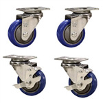 "3"" caster set with blue polyurethane wheels"