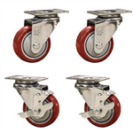 "3"" caster set with red polyurethane wheels"