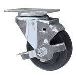 Swivel Caster with Hard Rubber Wheel and brake