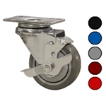 "3-1/2"" Swivel Caster with Polyurethane Tread and Brake"