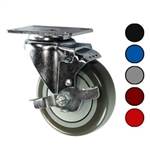 "4"" Swivel Caster with Polyurethane Tread and Brake"